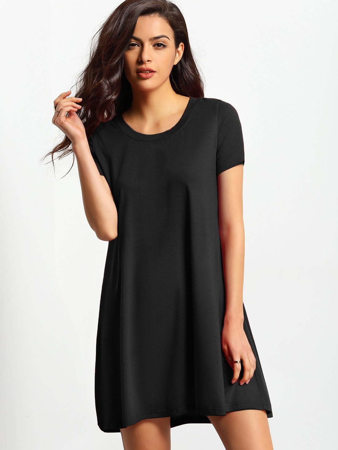 Short Sleeve Basic Shift Dress flounce short sleeve shift sleep dress