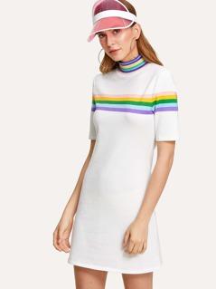 Mock Neck Contrast Striped Dress