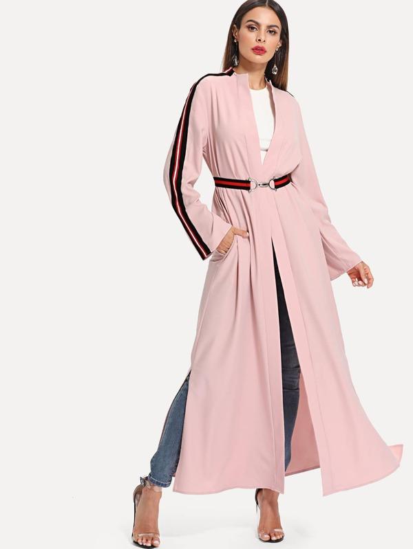 Striped Sleeve And Belt Abaya by Shein