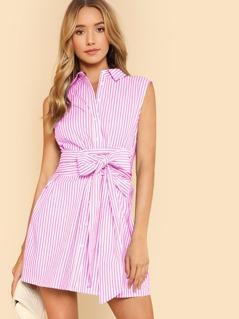 Sleeveless Striped Shirt Dress with Belt