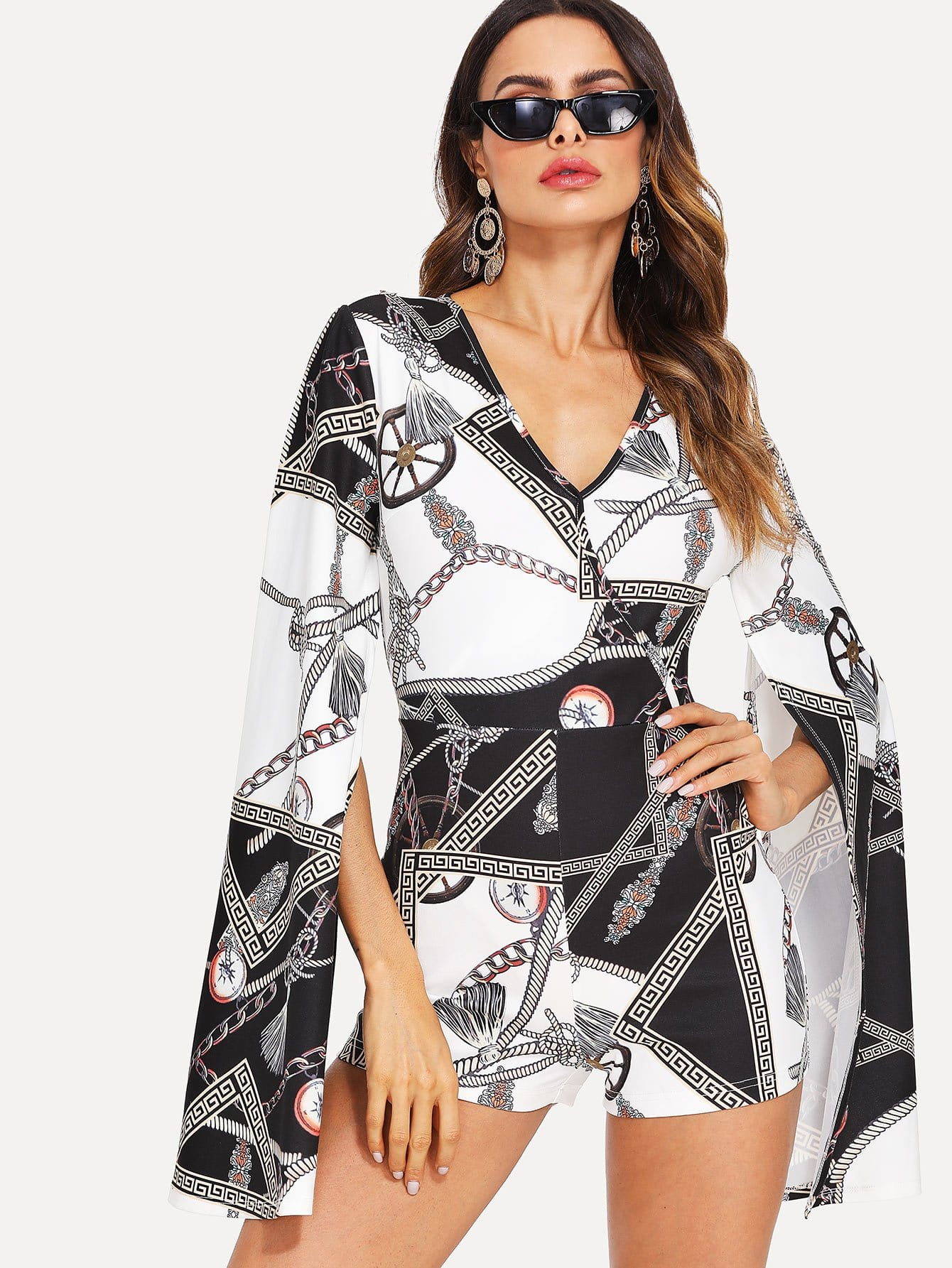 Wrap Front Split Sleeve Fitted Romper майка борцовка print bar gnar