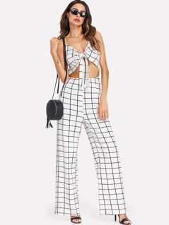 Knotted Open Front Grid Cami Jumpsuit