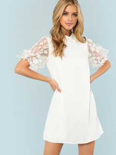 Flower Applique Mesh Sleeve Dress