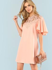 Floral Lace Yoke Flutter Sleeve Dress