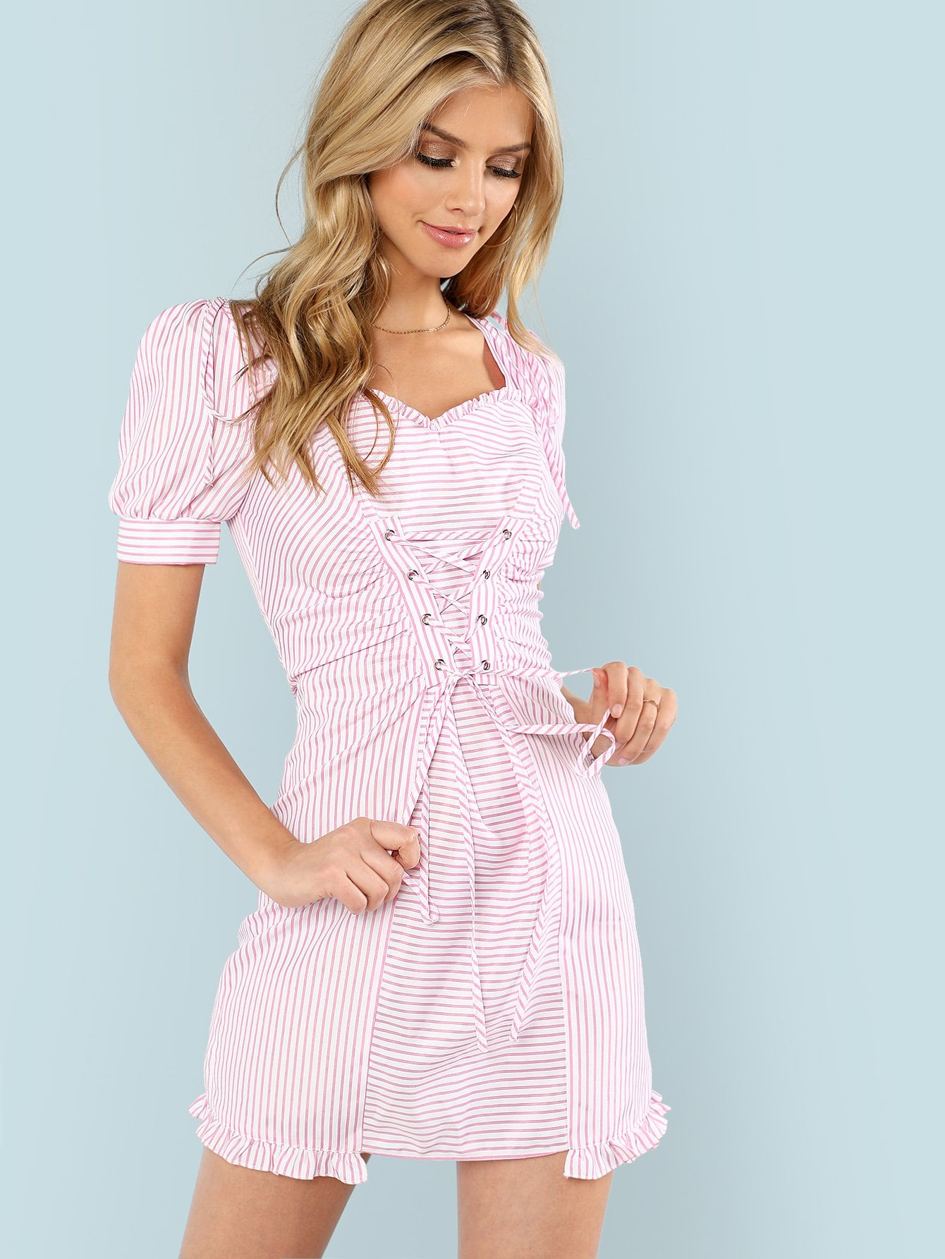 Lace Up Front Frill Trim Zip Back Striped Dress lace up front striped sleeve dress