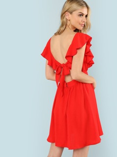 Knot Open Back Ruffle Trim Dress