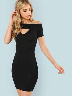 V Cut Neck Bardot Dress