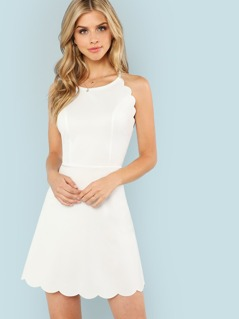 Fit & Flare Scalloped Trim Cami Dress