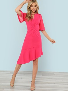 Twist Front Ruffle Dip Hem Dress