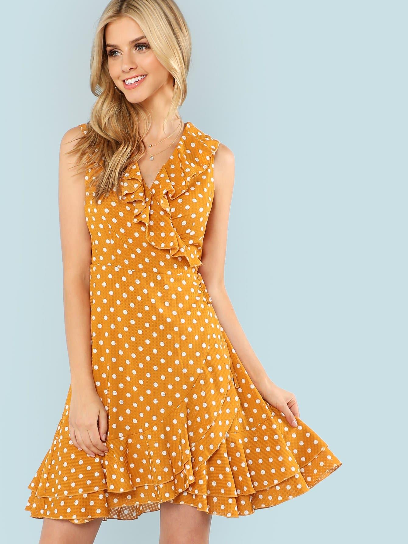 Polka Dot Layered Ruffle Hem Sleeveless Dress layered ruffle polka dot cami dress
