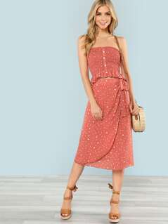 Button Front Shirred Bandeau Top & Skirt Co-Ord
