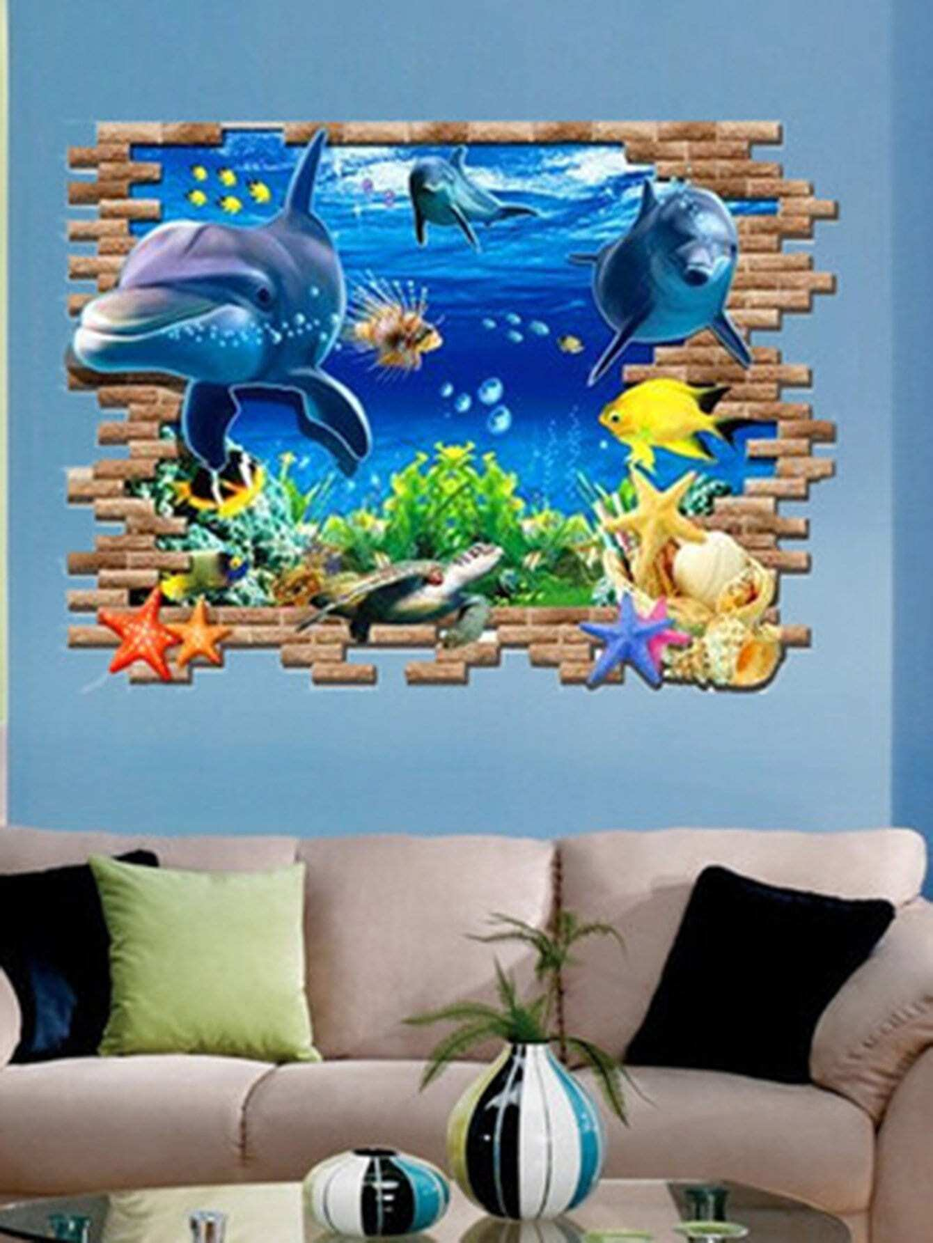 3D Sea Wall Decal double wine wall decal
