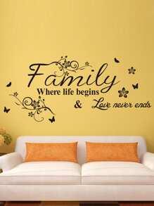 Slogan & Flower Print Wall Sticker