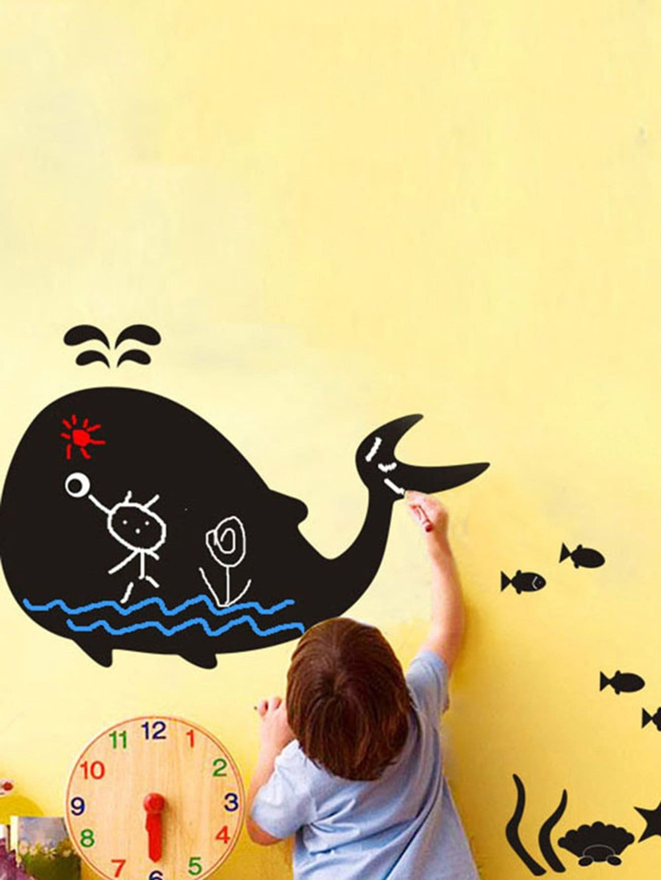 Cartoon Whale Wall Decal pastel heart wall decal