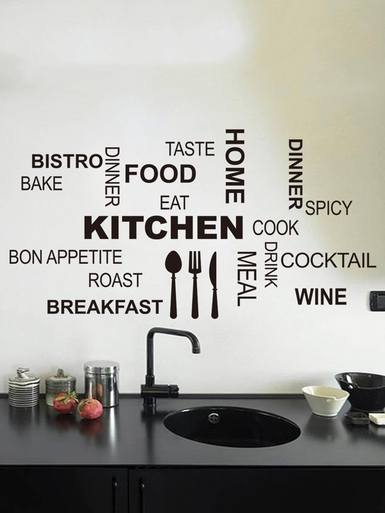 Фото Kitchen Slogan Wall Decal family wall quote removable wall stickers home decal art mural