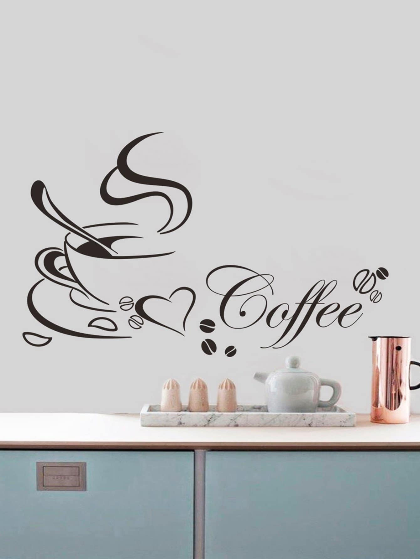 Coffee Wall Decal family wall quote removable wall stickers home decal art mural