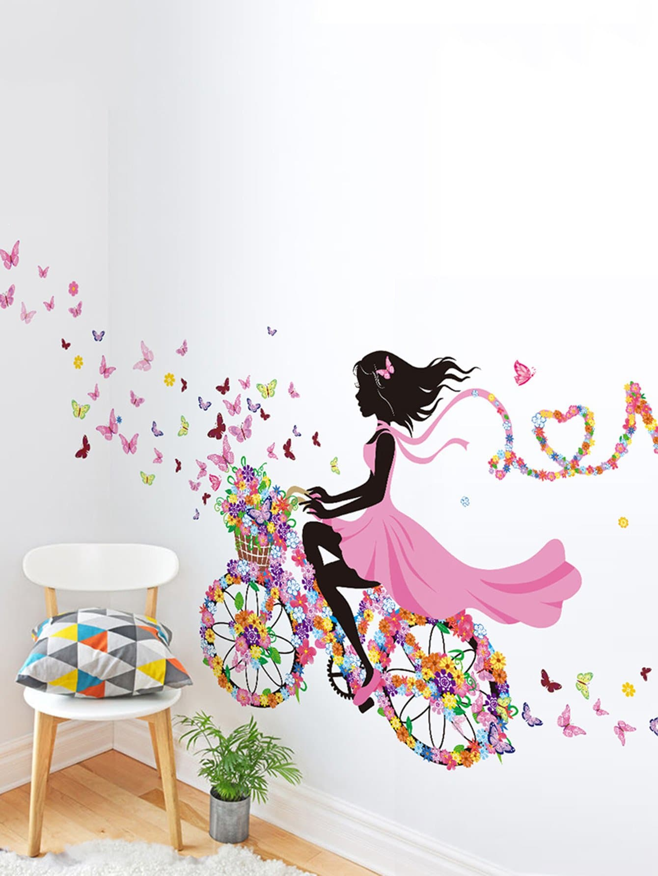 Фото Floral Girl Wall Decal family wall quote removable wall stickers home decal art mural
