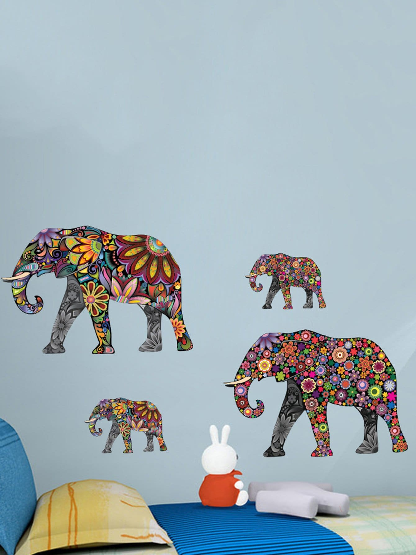 Floral Elephant Wall Decal floral girl wall decal