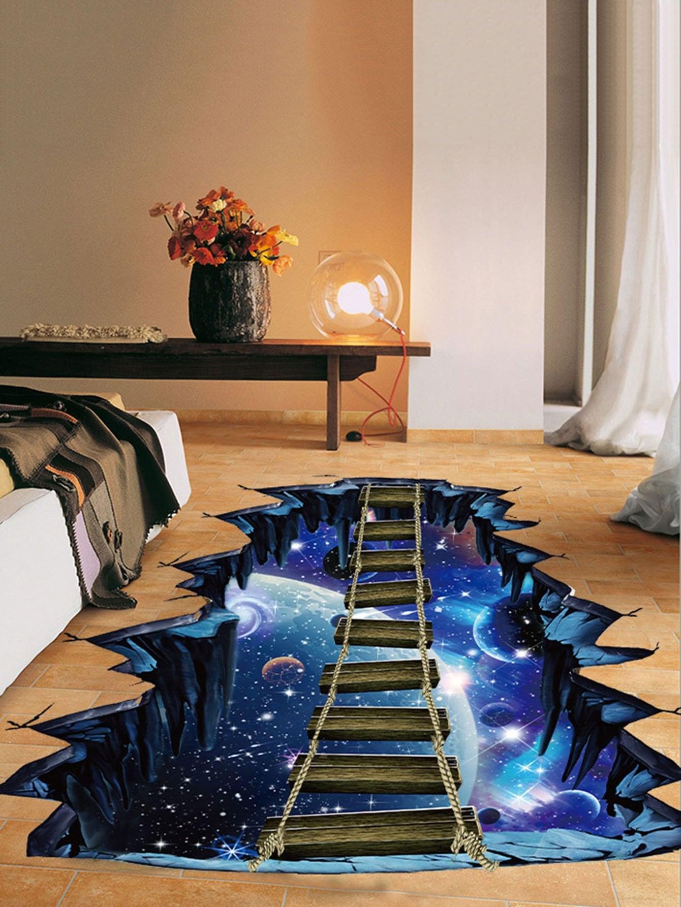 3D Galaxy Floor Sticker beibehang custom large floor sticker