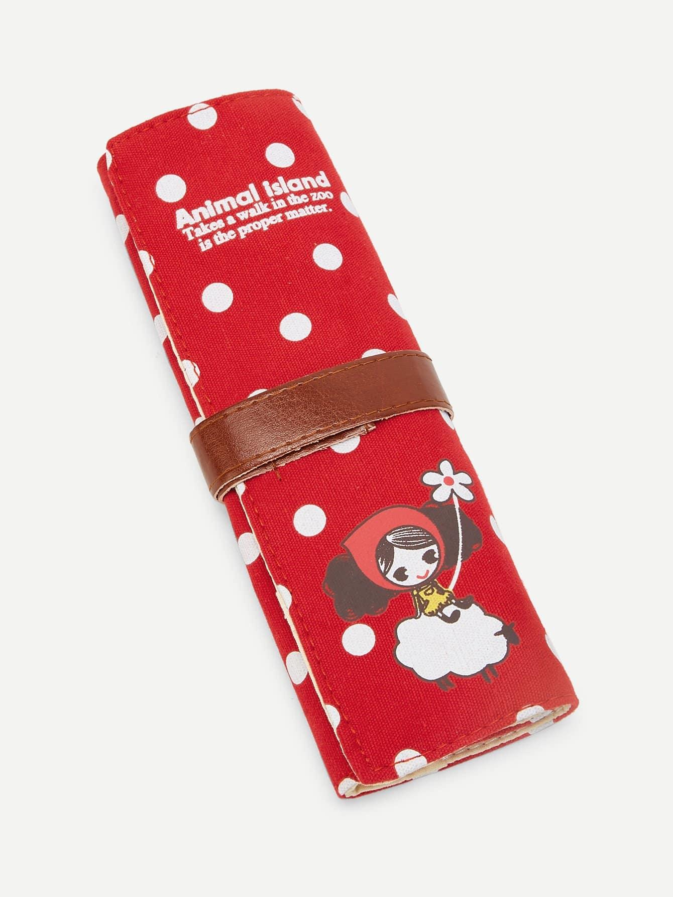Polka Dot Wrap Pencil Bag striped wrap pencil bag