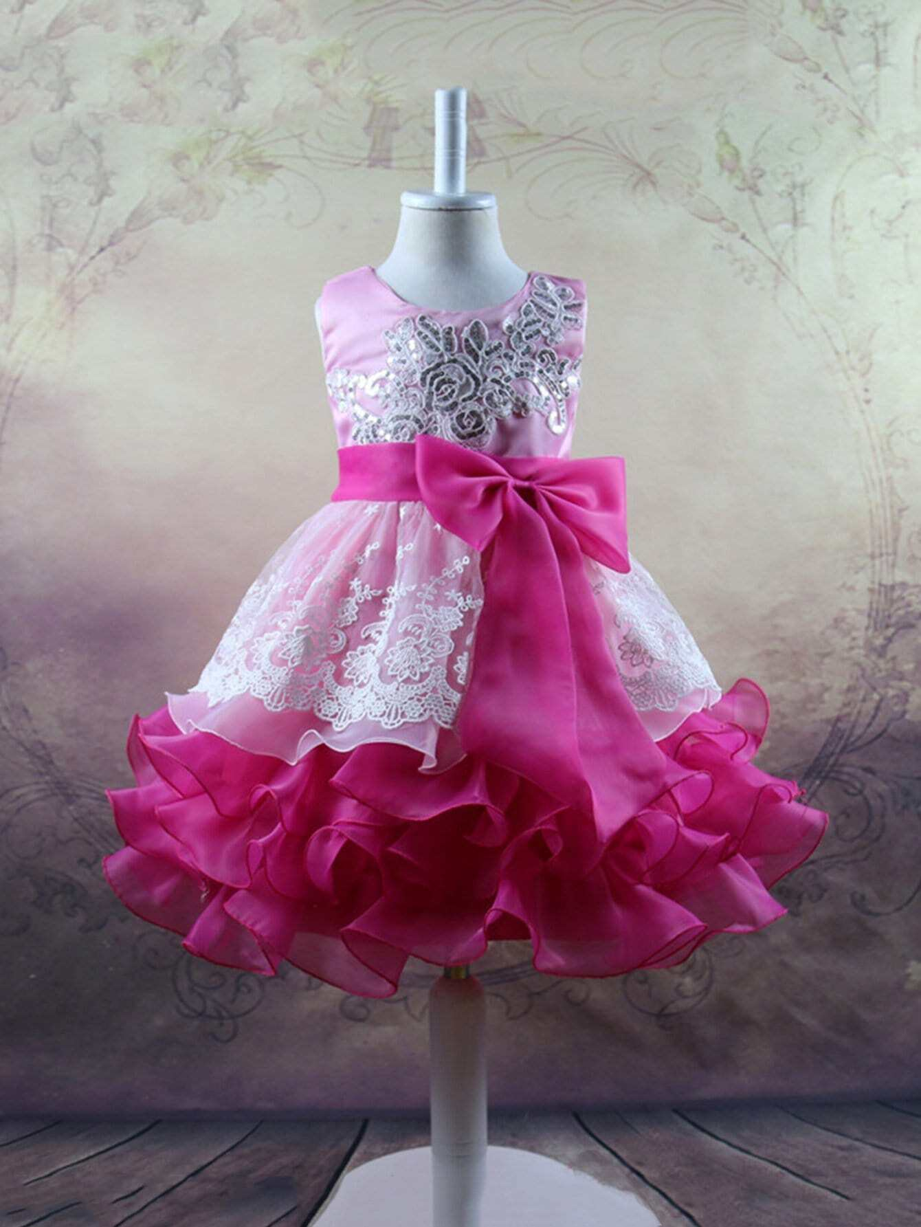 Sequin Embroidered Bow Tie Tiered Ball Gown