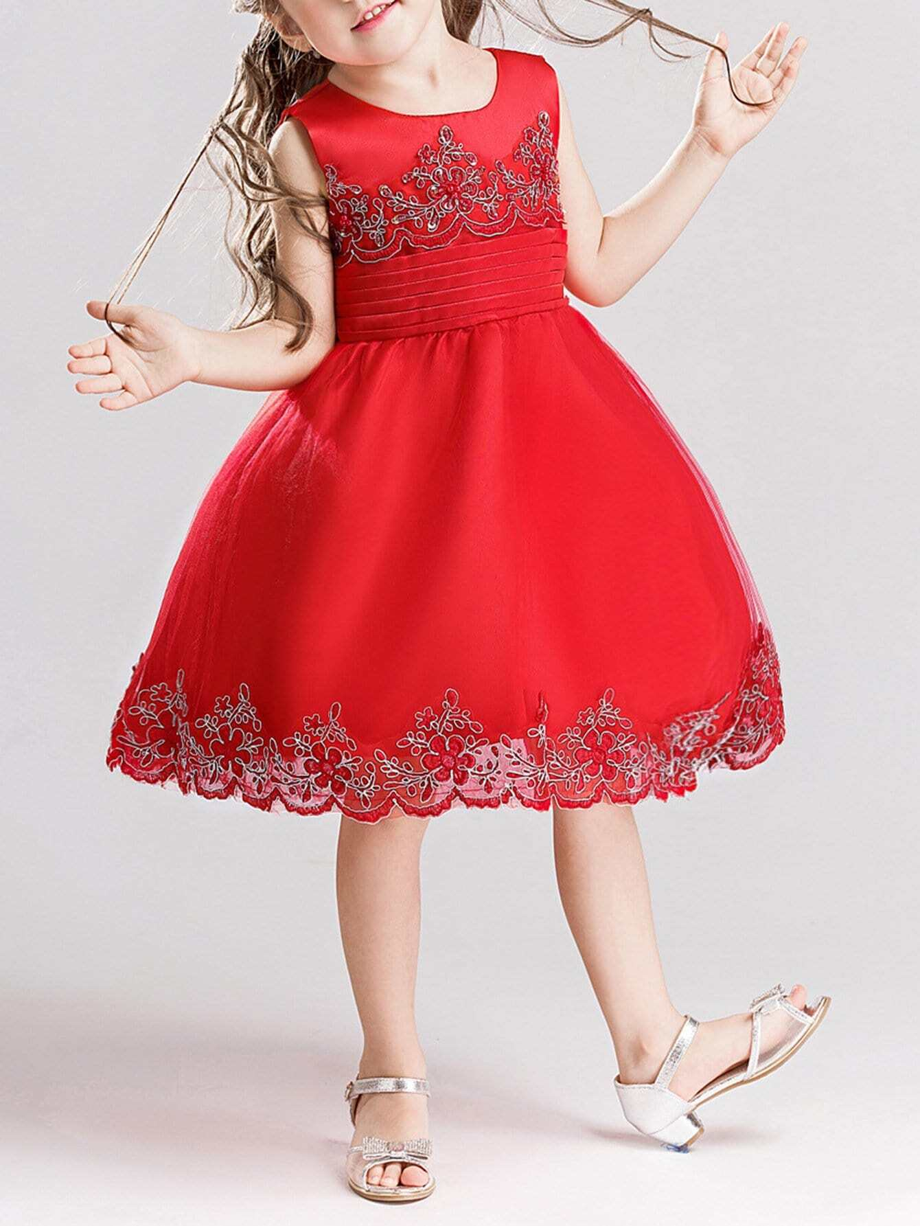 все цены на Embroidered Bow Tie Back Ball Gown