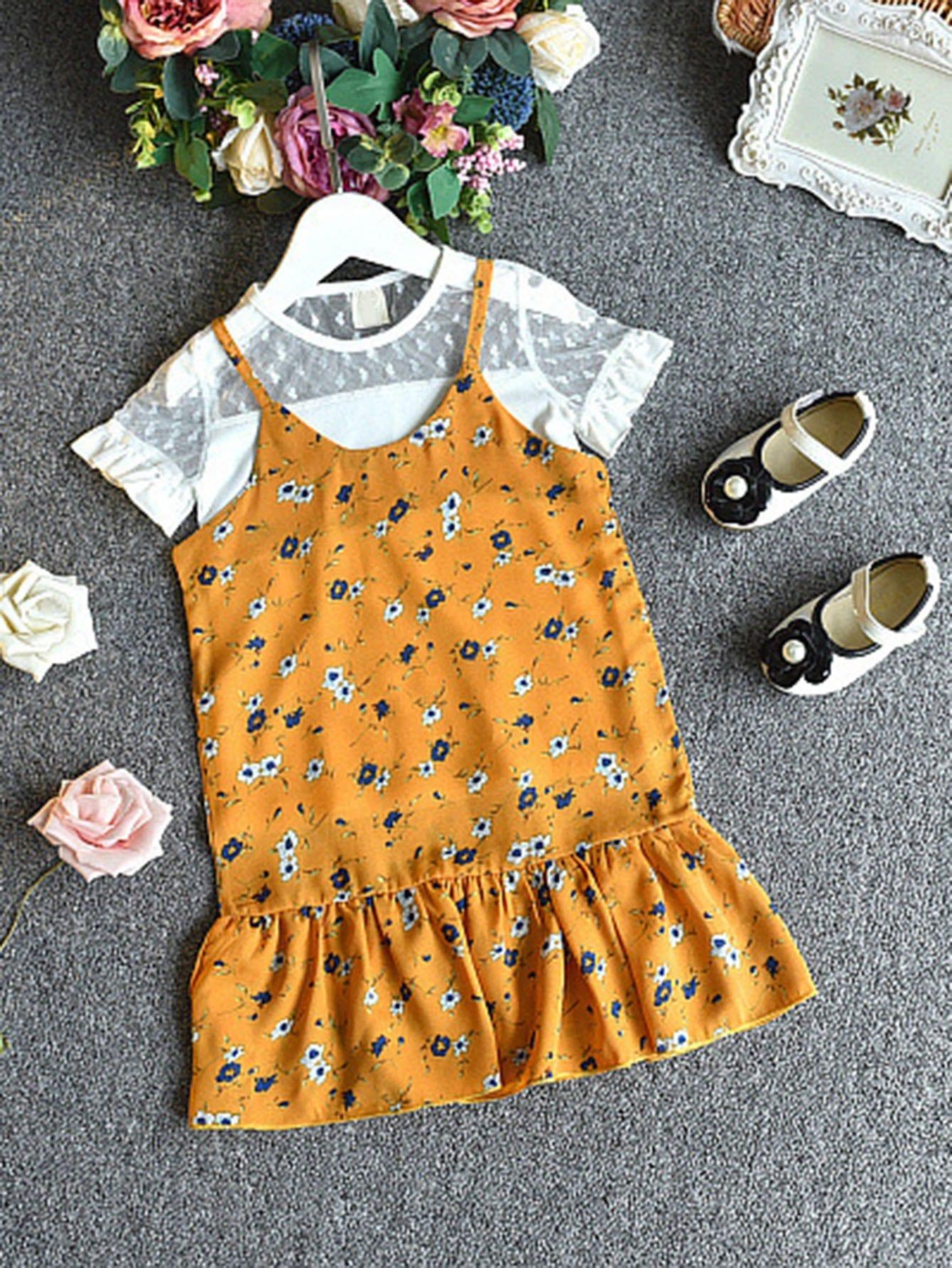 Calico Print Cami Dress With Mesh Panel Top calico print faux pearl detail cami dress