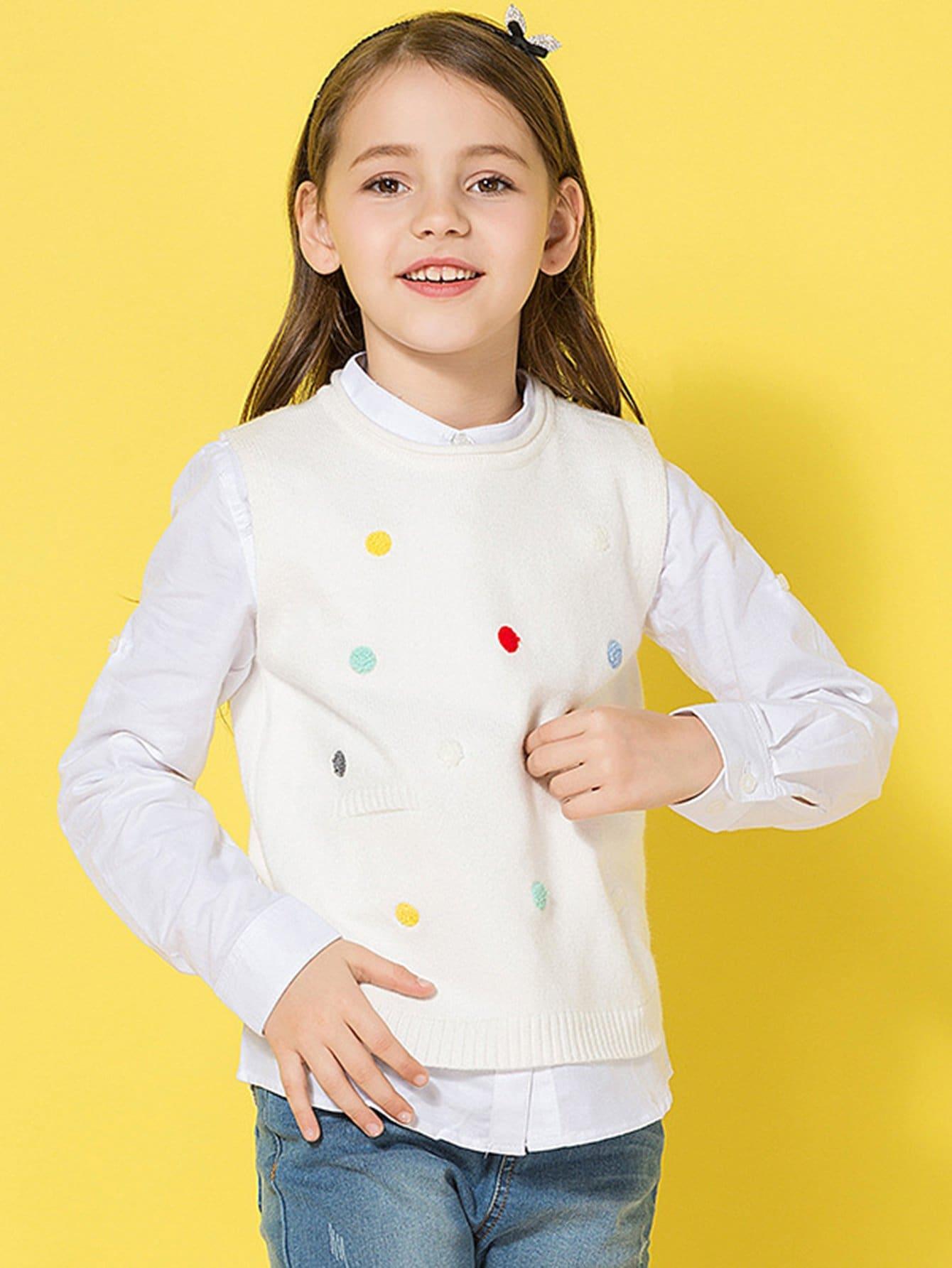 Girls Spot Embroidered Sleeveless Jumper girls spot embroidered sleeveless jumper