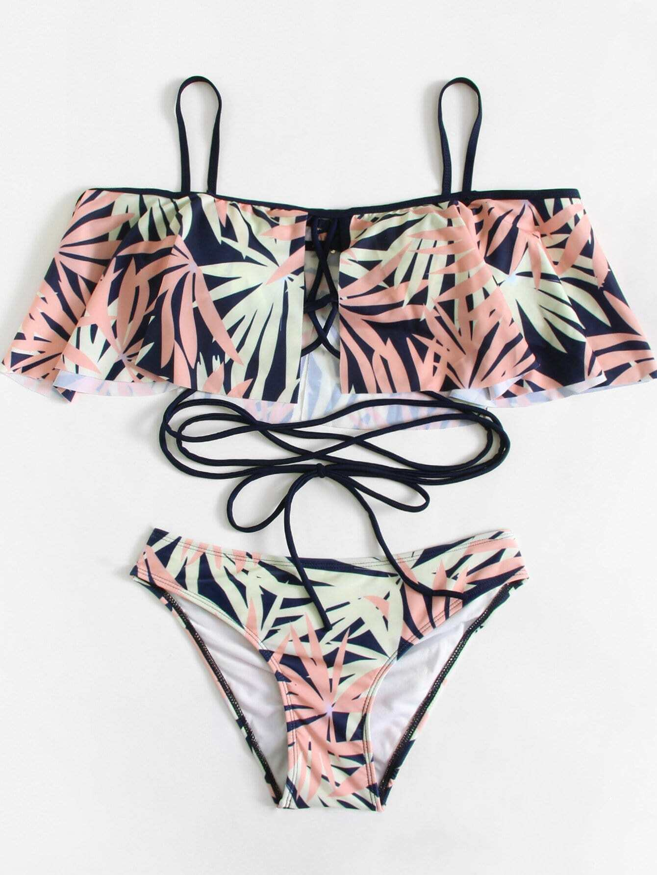 Leaf Print Lace Up Bikini Set leaf print lace up backless swimsuit