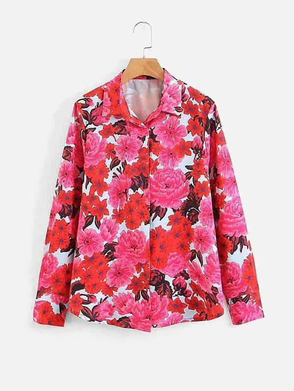 All Over Florals Shirt all over florals dip hem shirt