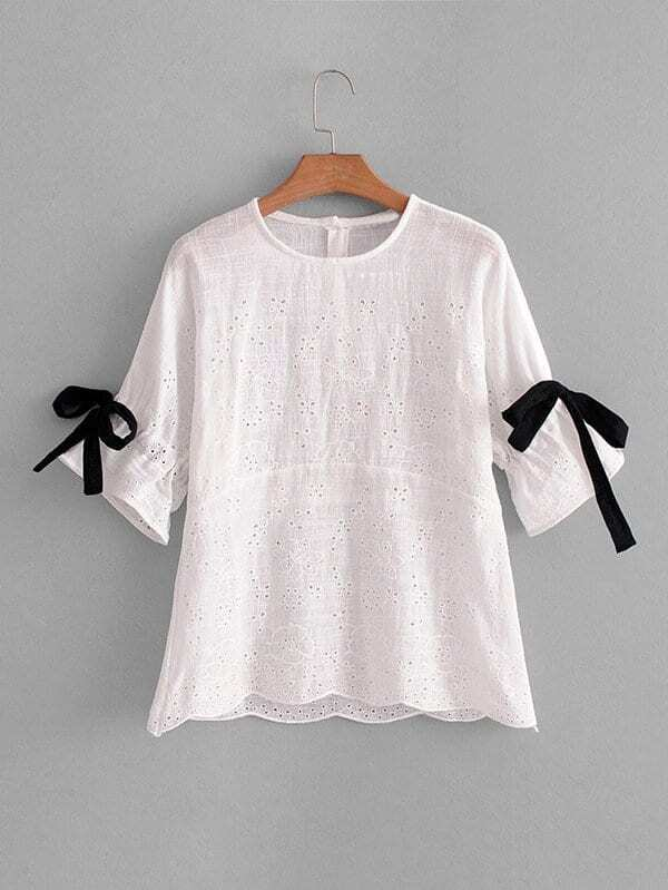 цены Tie Detail Eyelet Embroidered Babydoll Blouse