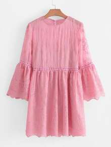 Lace Panel Flounce Sleeve Embroidered Dress
