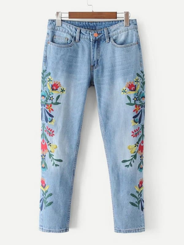 Flower Embroidered Jeans emoji embroidered jeans