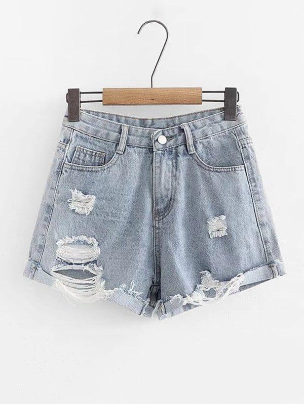 Ripped Roll Hem Denim Shorts