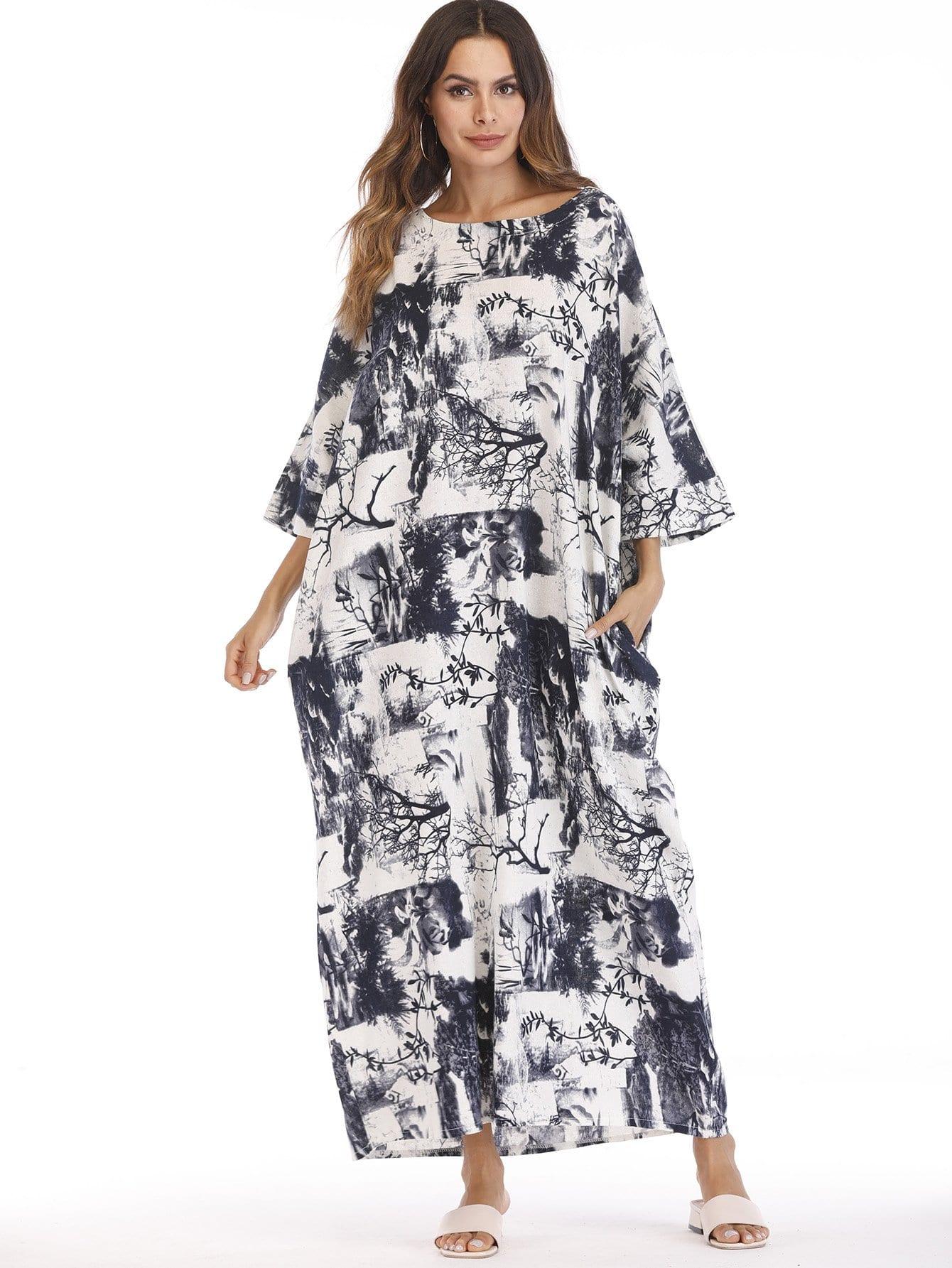 Купить Платье с карманами и принтом пейзаж, null, SheIn