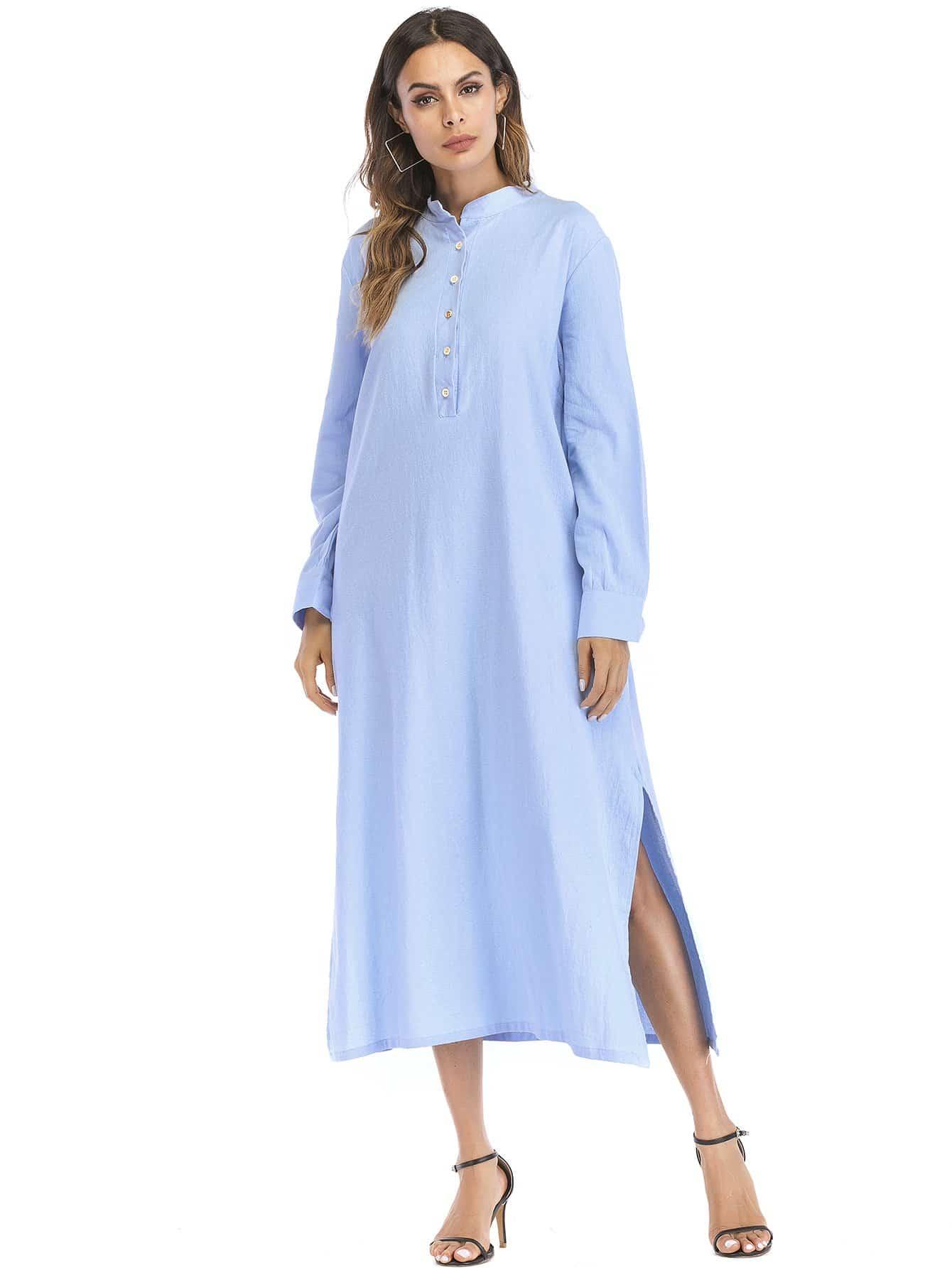 Split Side Hidden Pocket Shirt Dress kangaroo pocket split side dress