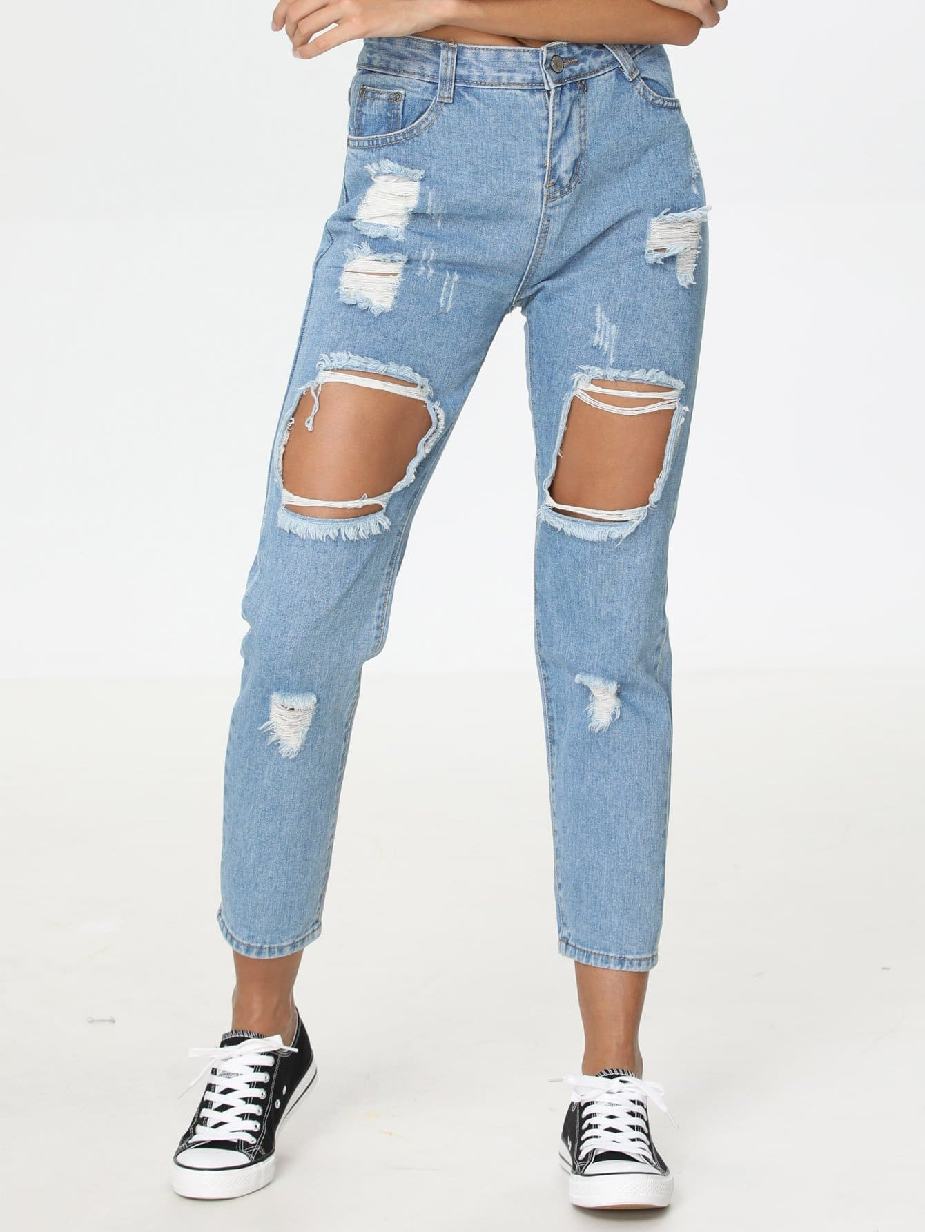Cut Out Destructed Jeans ferzige woman jeans boot cut embroidered high stretch womens flared pants ladies flowers embroidery blue jeans mujer femme jeans