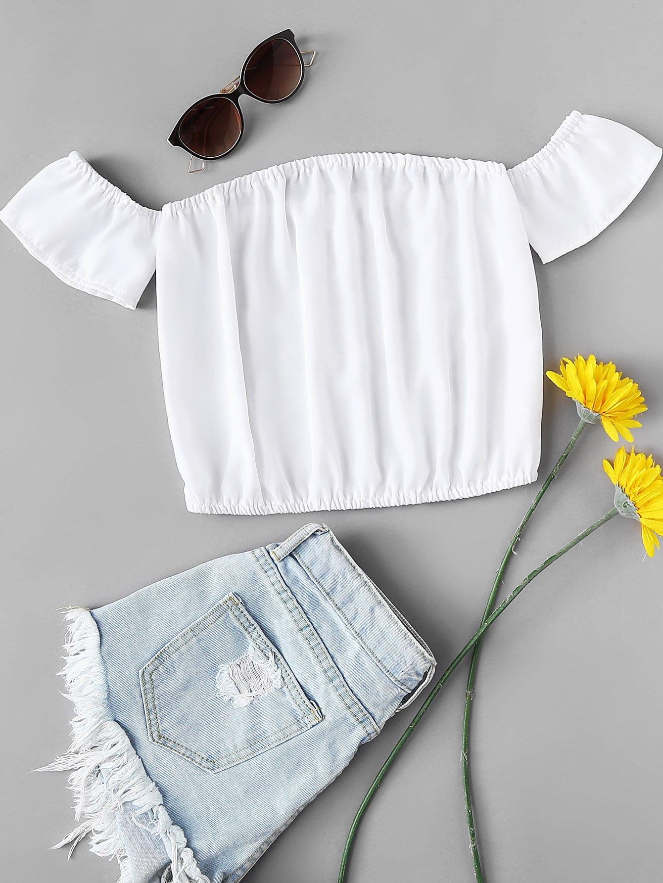 Купить Повседневный Одноцветный Белый Блузы+рубашки, null, SheIn