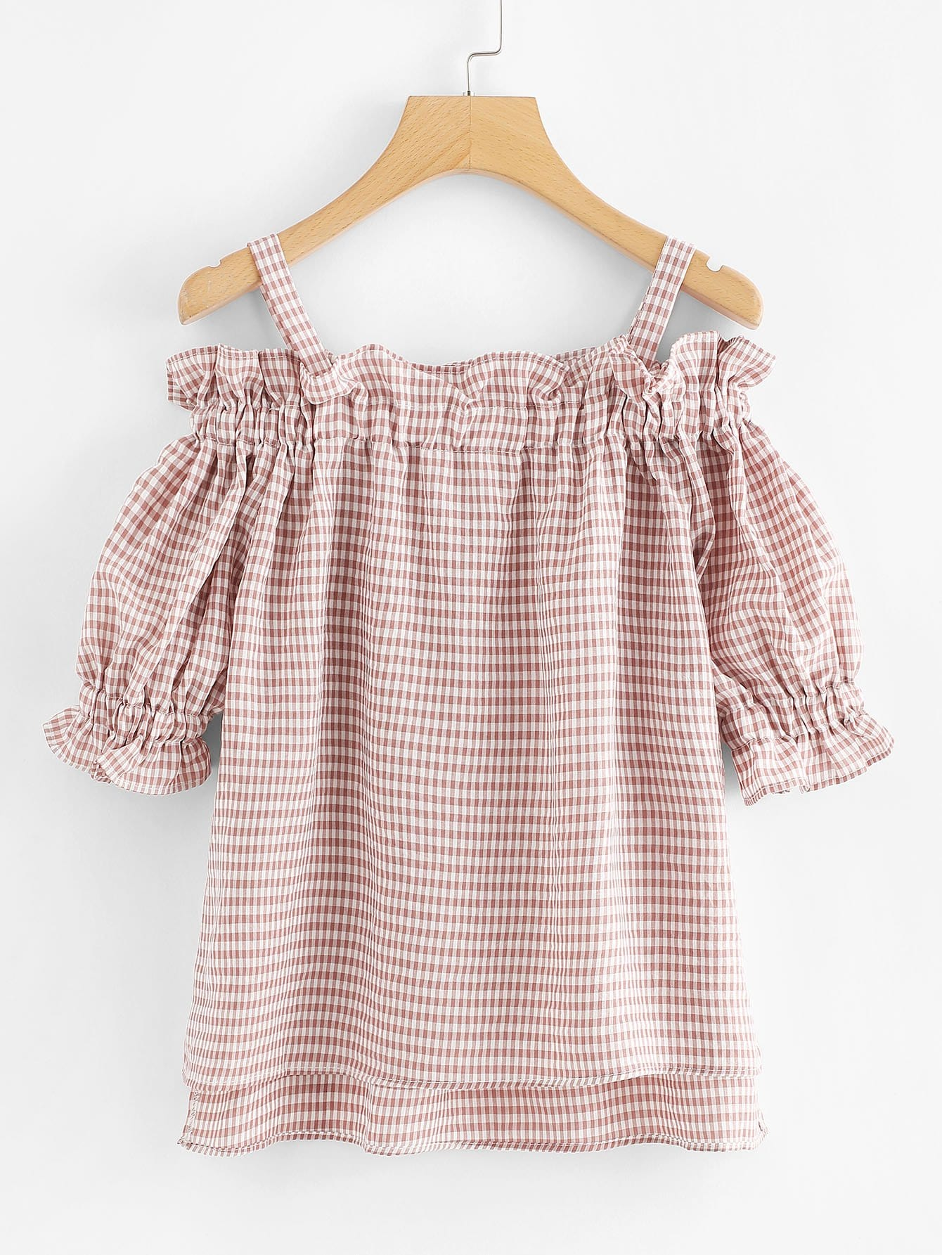 Open Shoulder Frill Trim Checked Blouse