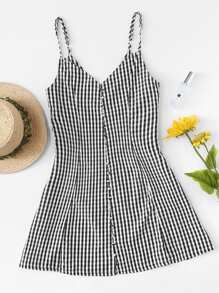 Single Breasted Checked Cami Dress