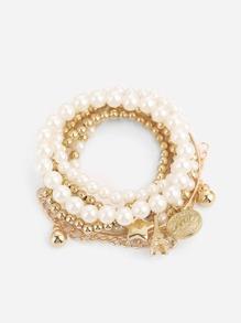 Faux Pearl Beaded Bracelet Set 6pcs