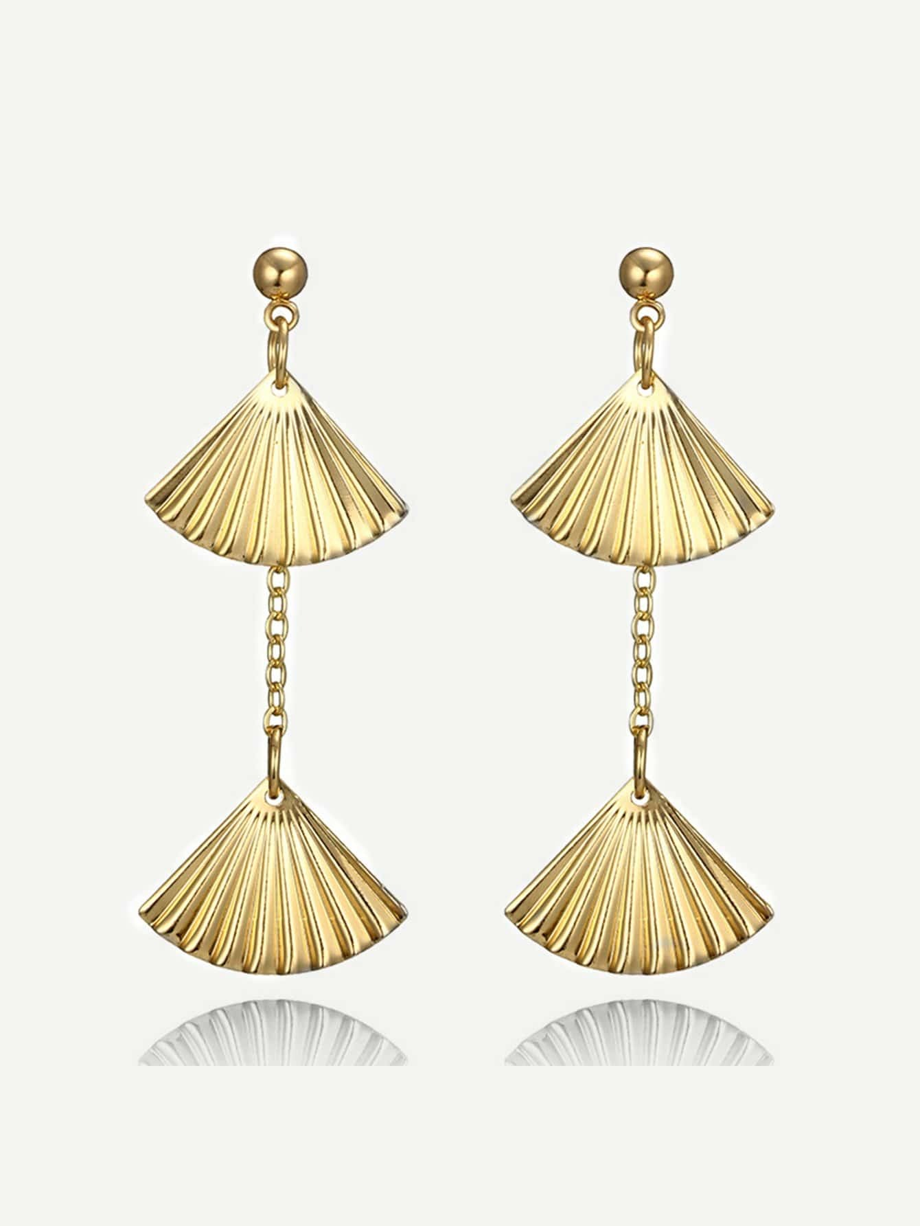 Fan Shaped Drop Earrings hollow water drop shaped drop earrings