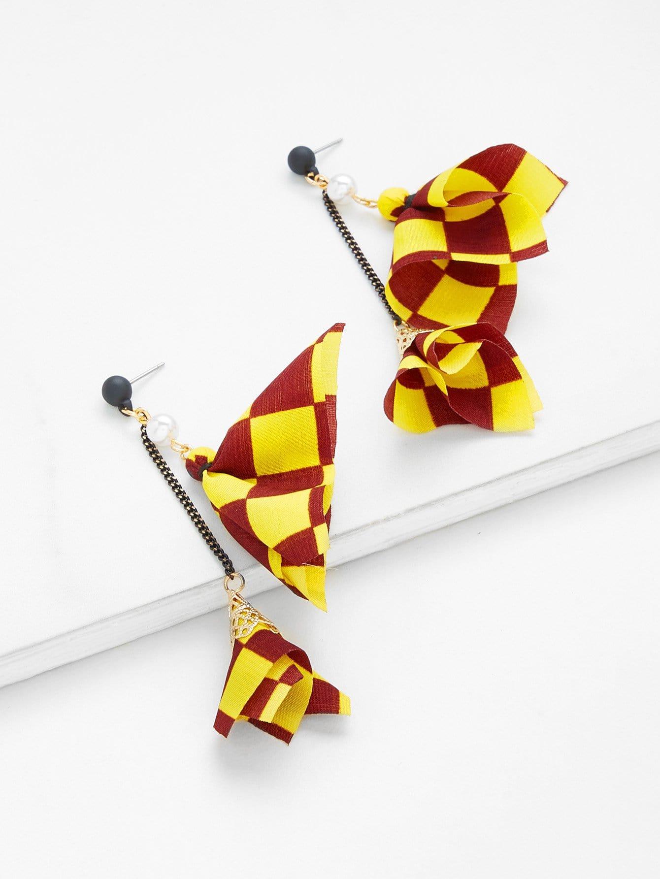 Patchwork Design Drop Earrings rectangle design drop earrings