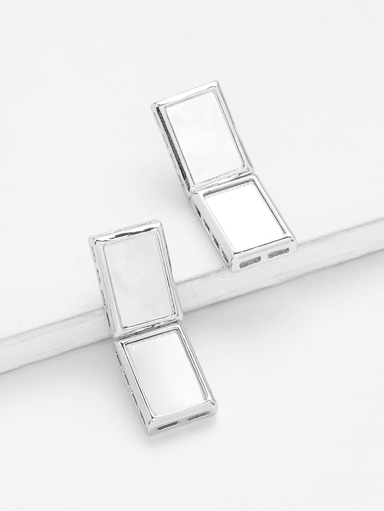 Rectangle Design Stud Earrings rectangle design drop earrings