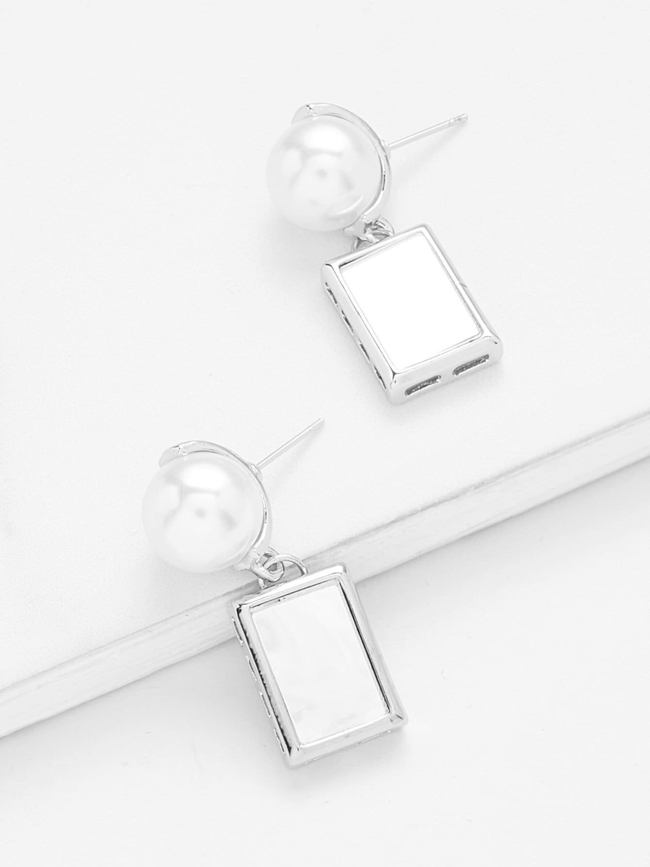 Faux Pearl & Rectangle Drop Earrings faux pearl ball drop earrings