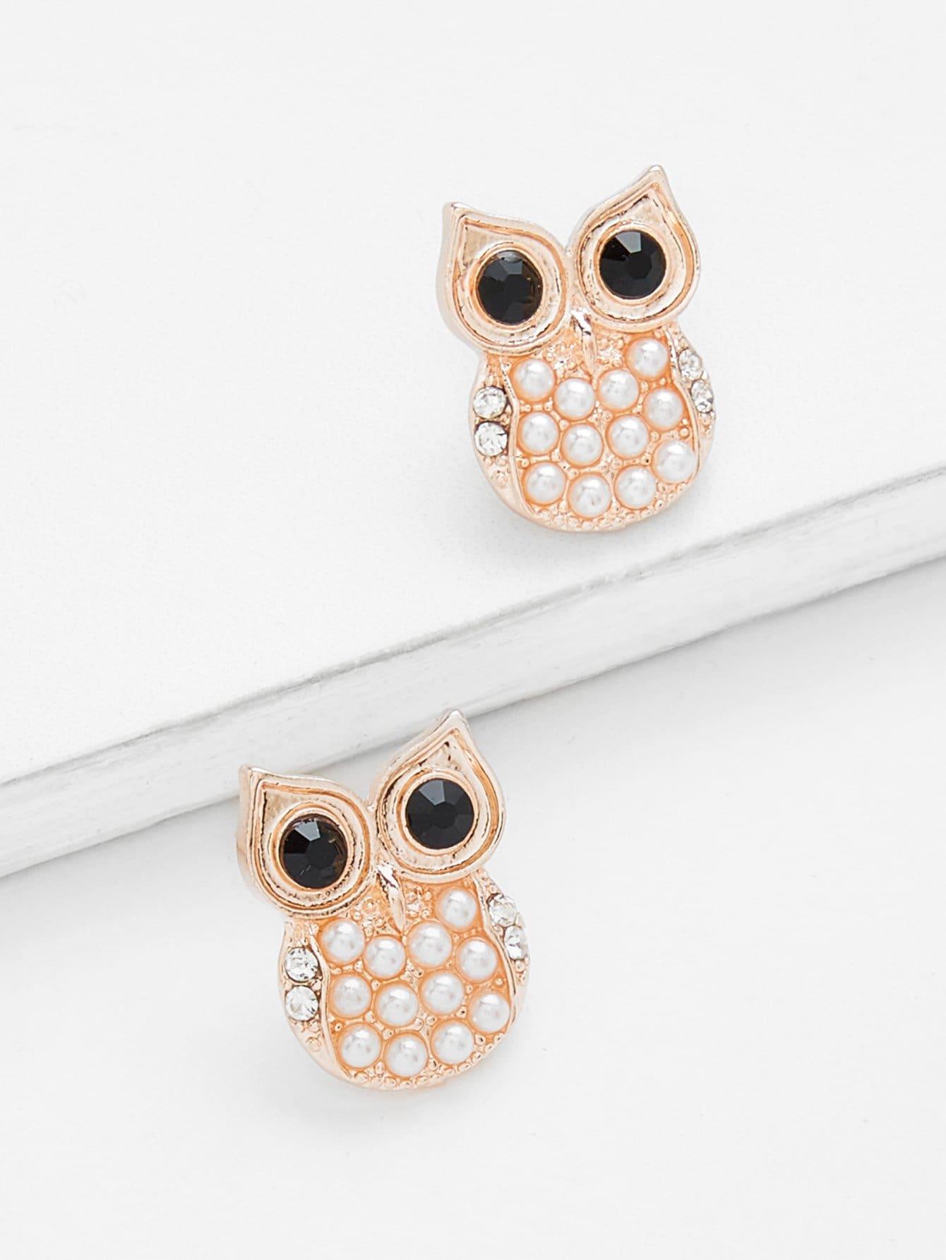 Owl Shaped Stud Earrings waterdrop shaped stud earrings