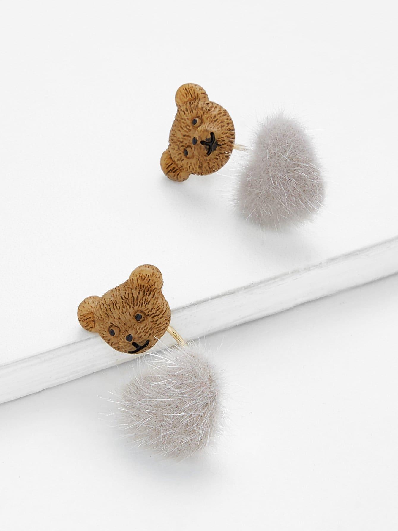 Bear & Faux Fur Stud Earrings faux fur overlay heart stud earrings