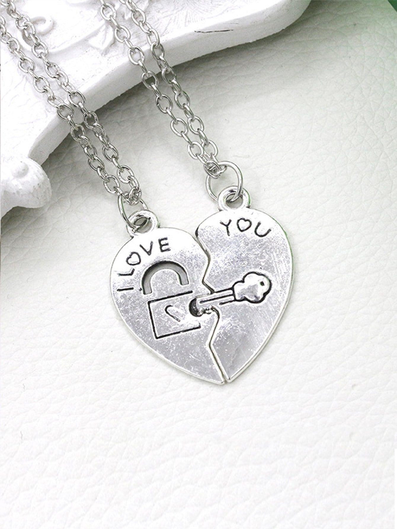 Heart Shape Couple Necklace Set 2pcs