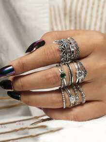 Rhinestone Rings Set 12pcs