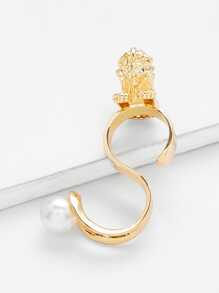 Faux Pearl S Shaped Cuff Ring